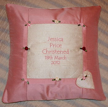Rose silk Christening cushion