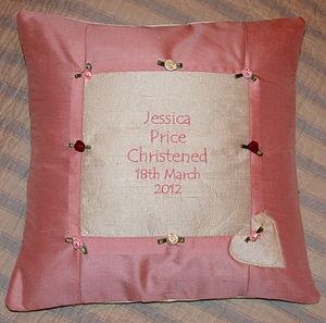 Rose silk Christening cushion - cushions