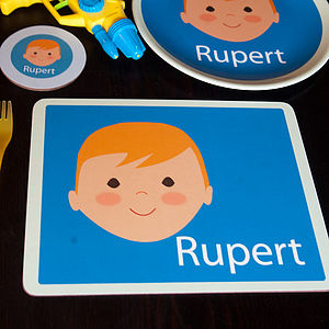 Personalised Face Placemat - children's tableware