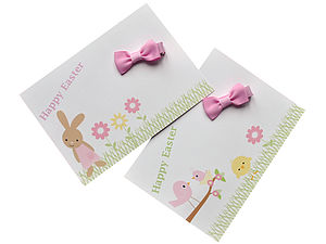 Easter Postcard With Mini Hair Bow - children's easter
