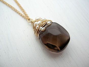 Smoky Quartz Necklace With Woven Pearls