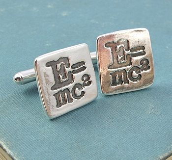 Einstein 'E=Mc²' Silver Mens Cufflinks