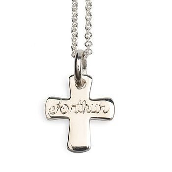 Engraved silver cross and chain