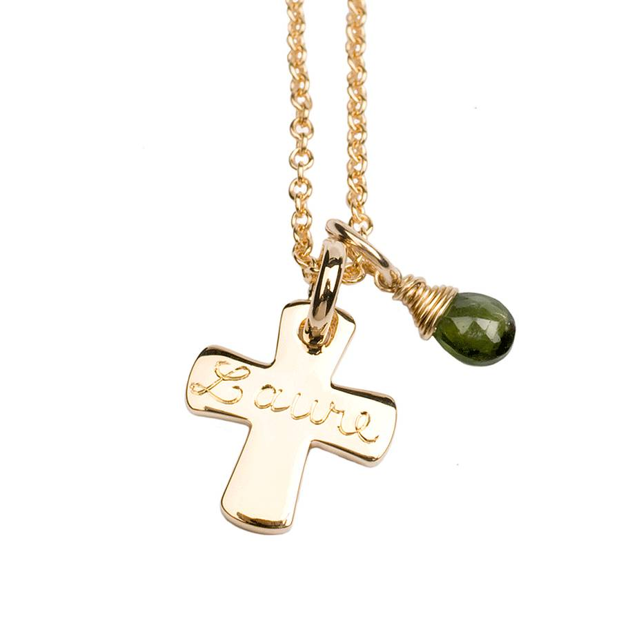 Personalised 9ct solid gold cross necklace by sibylle de baynast 9ct yellow gold engraved cross and chain with green tourmaline briolette aloadofball Images