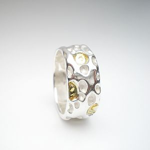 Coral Silver And Gold Ring - women's jewellery