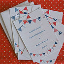 Pack Of 10 Bunting Party Invitations