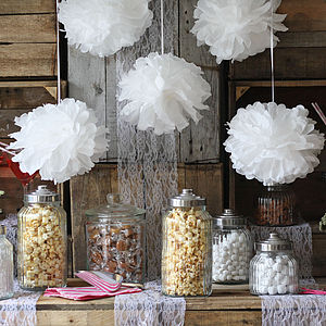 Pack Of Five Paper Poms - inspiring wedding styling ideas