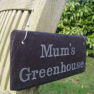 Engraved Slate Mum's Garden Sign - art & decorations