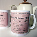 Personalised Drink Instructions Mug