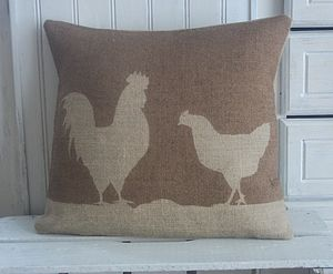 ' Cockerel And Chicken ' Hessian Cushion