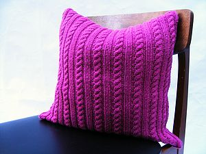 Cable Cushion Handknit In Cerise - bedroom