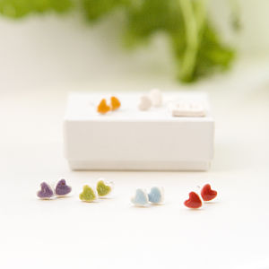 Porcelain Heart Earrings - women's jewellery