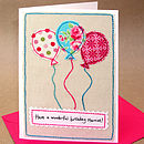 Personalised Balloons Girls Birthday Card