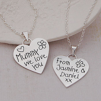 Personalised Silver 'Love You' Heart Necklace