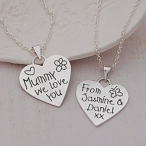 Personalised Silver 'Love You' Heart Necklace - gifts from younger children