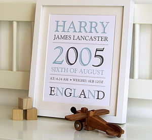 New Baby Birth Details Personalised Print