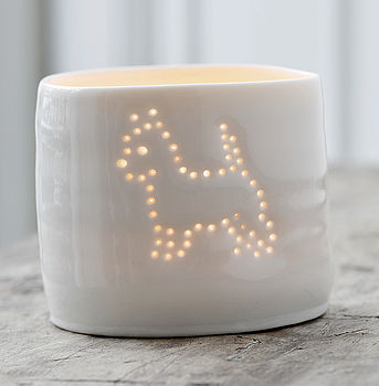 Porcelain Terrier Tea Light