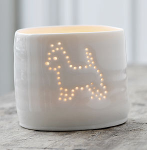 Porcelain Terrier Tea Light - candles & candle holders