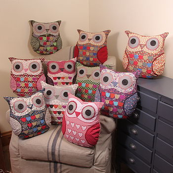 Vintage Inspired Patterned Owl Cushions