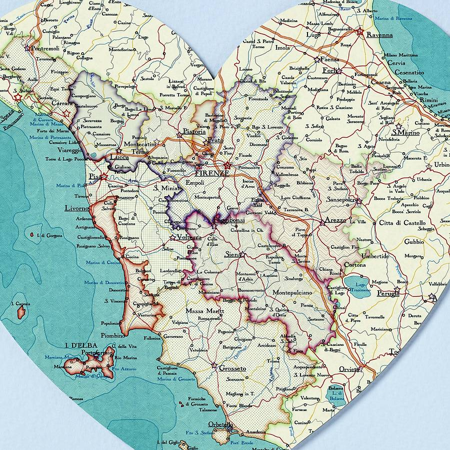Tuscany Map Heart Print By Bombus Off The Peg Notonthehighstreetcom - Map tuscany