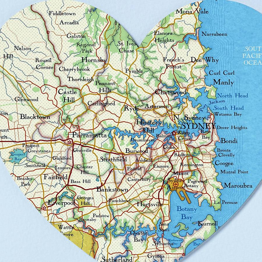 sydney map heart print wedding anniversary gift by bombus off the