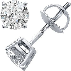 Diamond Stud Earrings In White Gold - earrings