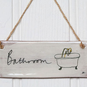 Handmade 'Bathroom' Earthenware Sign