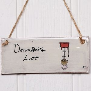 Handmade 'Downstairs Loo' Earthenware Sign - room decorations