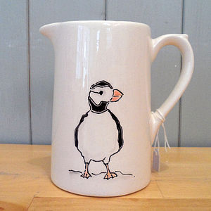 Hand Painted Farmhouse Puffin Jug - crockery & chinaware