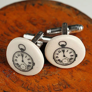 Pocket Watch Earthenware Cufflinks - mens