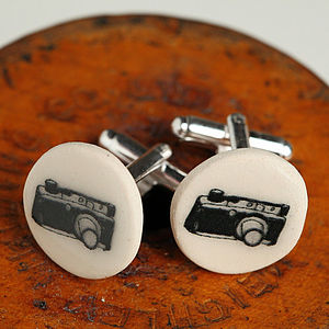 Camera Glazed Earthenware Cufflinks - gifts for photographers