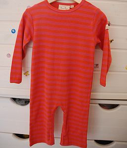 Girl's Pink And Cherry Striped Romper Suit