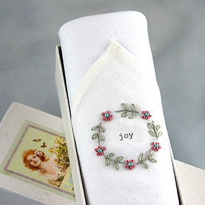 'Joy' Hand Embroidered Hankie - gifts for grandparents
