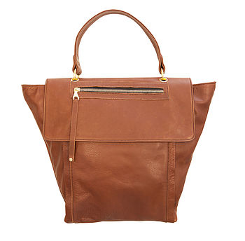 Jamie Leather Tote Bag:Brown