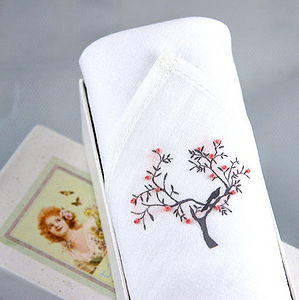Hand Embroidered Tree Hankie - handkerchiefs