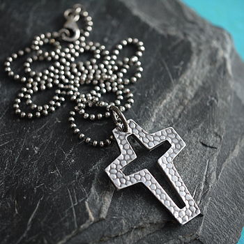 Chunky Silver Cross Necklace