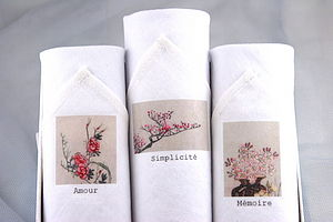 Box Of Three Handkerchiefs: 'Amour' - women's accessories