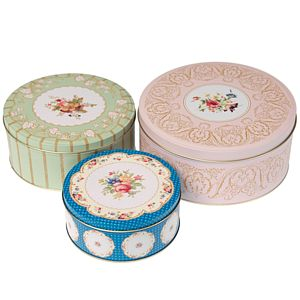 Decorative Floral Cake Tin Set - kitchen accessories