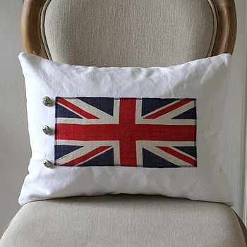 Vintage 1940's Linen Union Jack Flag Cushion