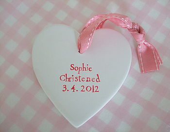 Personalised Christening Heart Decoration