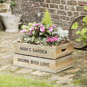 Personalised Large Wooden Crate Planter - gifts for couples