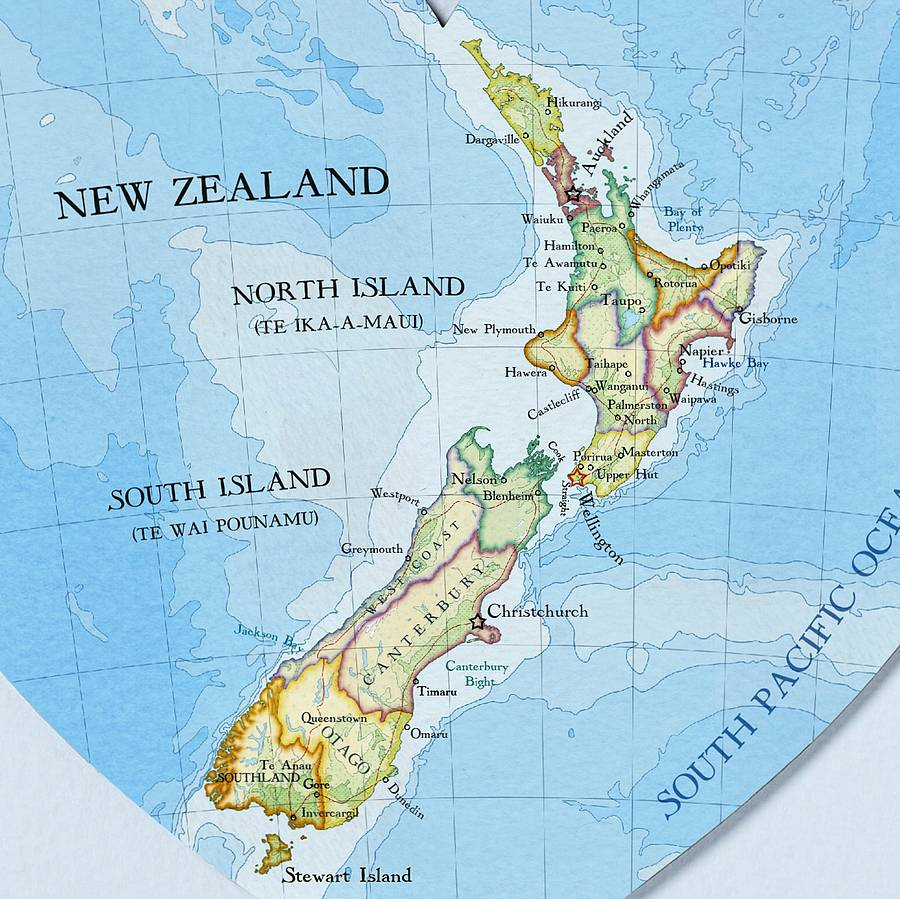 New Zealand Map Heart Print Wedding Gift By Bombus Off The Peg - Map new zealand