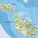 Malta and Gozo map heart print detail