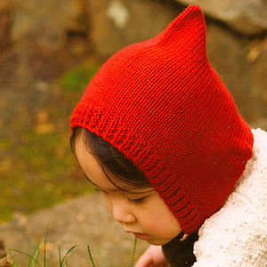Hand Knitted Pixie Hat And Mittens
