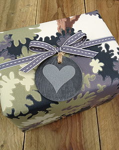 Slate Round Heart Gift Tag - wedding favours
