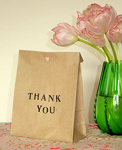 Pack Of Five 'Thank You' Gift Bags - wedding favours