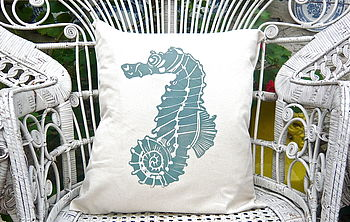Screen Printed Seahorse Cushion