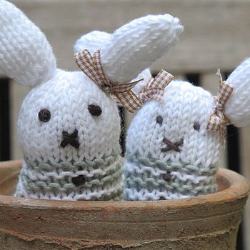 Hand Knitted Pair Of Bunny Buddies