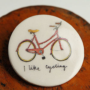 'I Like Cycling' Earthenware Badge - stocking fillers under £15