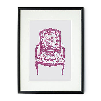 Floral Chair Mounted and Signed Print